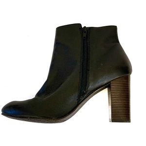 14th & Union Black Leather Block Heel Ankle Boots